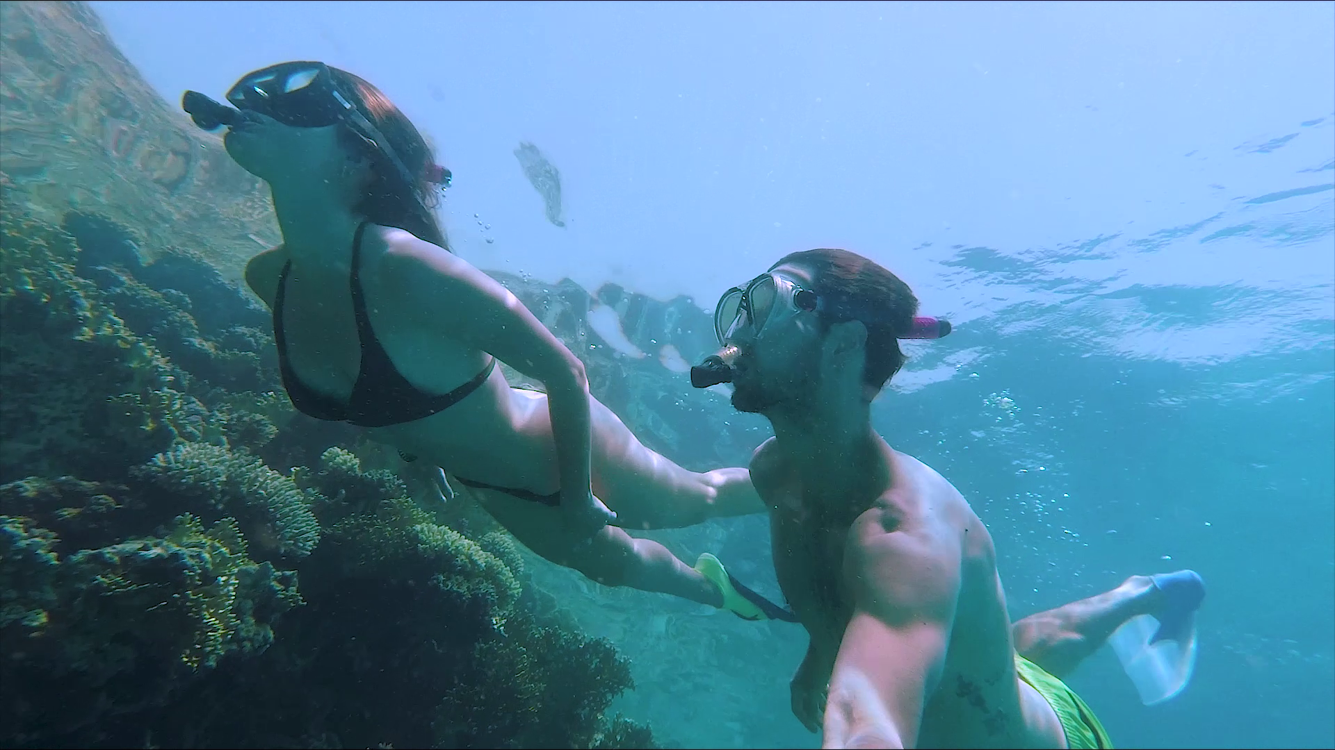 Couple snorkelling in the red sea