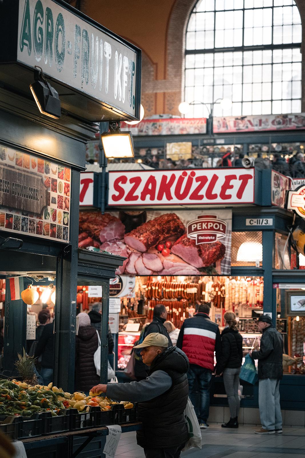 Food stalls inside Budapest Central Market Hall